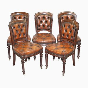 Chesterfield Brown Leather and Hardwood Dining Chairs, Set of 5