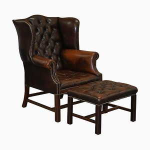 Chesterfield Brown Leather Wingback H-Framed Armchair and Footstool, Set of 2