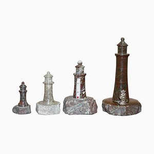 Antique Small Solid Marble Statues of Lighthouses, Set of 4