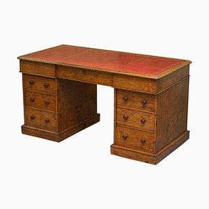 Antique Pollard Oak Partner Desk in Oxblood Leather from Howard & Sons, 1880s