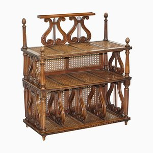 French Walnut and Rattan Bookcase