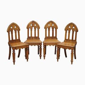 Vintage Gotische Esszimmerstühle mit Kirschholz Rückenlehne, 4er Set