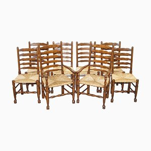 Dutch Ladder Back Oak Rush Seat Dining Chairs, 1880s, Set of 8