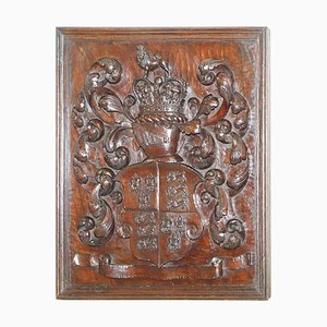 English Royal Coat of Arms Armorial Crest Walnut, 1738-1820