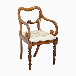 Early Victorian Walnut Kidney Shaped Back Carver Occasional Armchair
