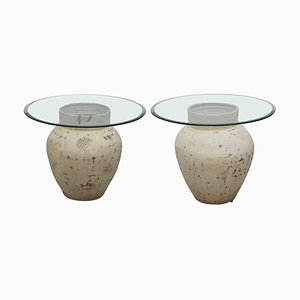 Large Pottery Urn Pots Lamp Tables with Glass Tops, Set of 2