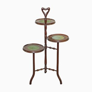 Three-Tiered Hardwood and Green Leather Side Table