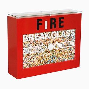 Popsee Fire 1 Original Art at Home Media Bar Table