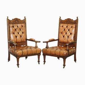 Art Nouveau Chesterfield Brown Leather Armchairs, Set of 2