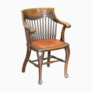 Antiker englischer Captain's Bürostuhl aus Eiche von Ralph Johnson