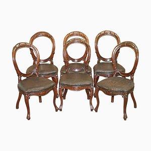 Viktorianische Esszimmerstühle mit handgeschnitzten Medaillonrücken, 6er Set