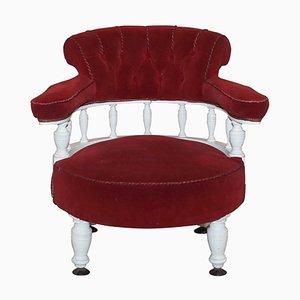 Viktorianischer Sessel aus rotem Samt und Eiche