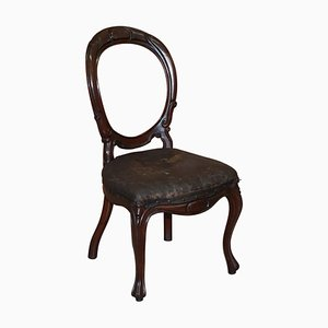 Victorian Hand Carved Spoon Medallion Back Dining Chair