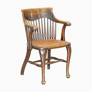 Englischer Eichenholz Spindle Back Bürostuhl von Ralph Johnson
