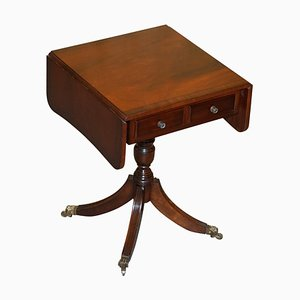 Flamed Hardwood Extendable Side Table with Brass Lion Paw Castors