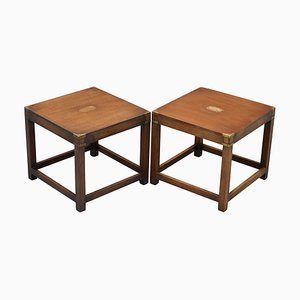 Military Campaign Lamp Tables from Harrods, Set of 2