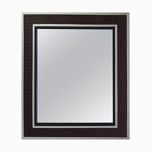 Spiegel mit Rahmen aus Kunstleder & Chrom von Ralph Lauren