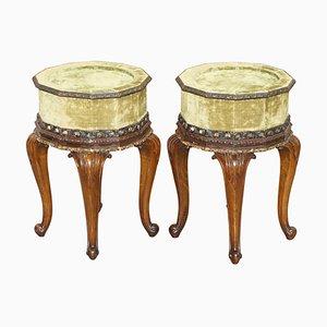 Antique Hardwood Carved Side Tables. 1860s, Set of 2
