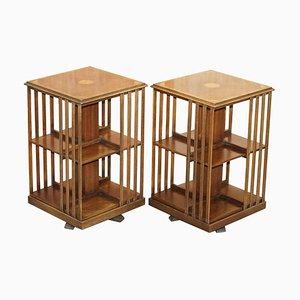 Edwardian Walnut Revolving Bookcases, Set of 2