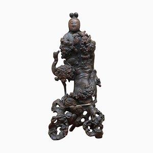 Chinesische Holzschnitzerei von Buddha, 1880er