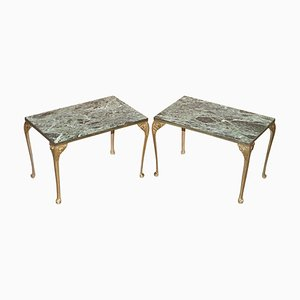 Green Marble Top Side Tables with Bronzed Frames, Set of 2
