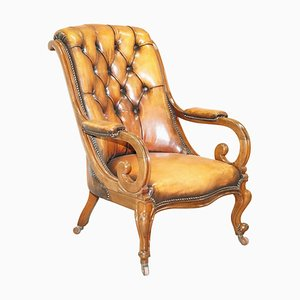 Early Victorian Chesterfield Brown Leather Armchair