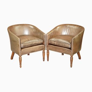 Hand Dyed Barrel Back Tub Armchairs in Brown Leather, Set of 2