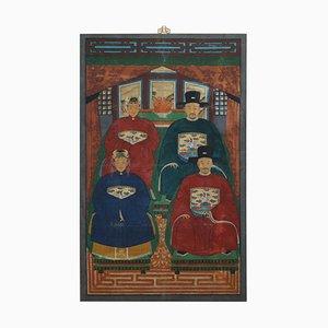 Dipinto cinese ancestrale, olio su tela, 1880