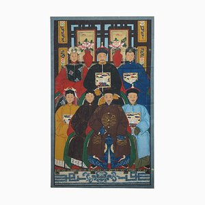 Chinese Ancestral Portrait Painting, Oil Scroll Canvas, Part of Suite, 1880s