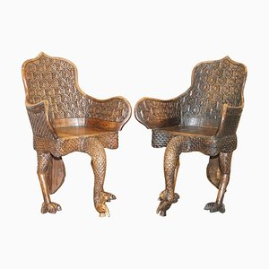 Anglo Indian Hand Carved Peacock Armchairs, 1880s, Set of 2