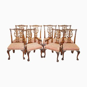 Solid Hardwood Thomas Chippendale Dining Chairs with Claw & Ball Feet, Set of 8