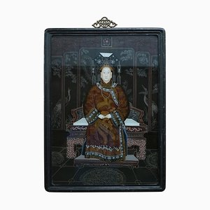 Vintage Chinese Ancestral Portrait, Hand-Painted Glass a Window to Another Time