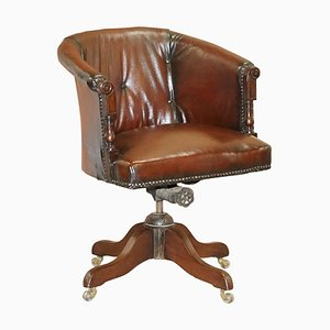 Chesterfield Captain's Chair aus braunem Leder, 1880er