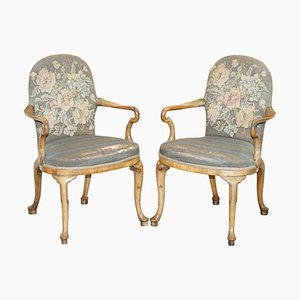 Early Victorian English Walnut Armchairs, Set of 2