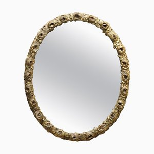 19th-Century French Giltwood Oval Wall Mirror
