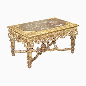 Großer Continental Tisch aus vergoldetem Holz & Marmor, 19. Jh