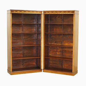 Victorian Sheraton Revival Inlaid Walnut & Oak Library Bookcases, Set of 2