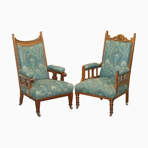 Victorian Oak Library Reading Armchairs from Liberty's, London, Set of 2