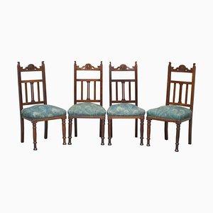 Viktorianische geschnitzte Esszimmerstühle aus Eiche & Hera von Liberty's, London, 4er Set