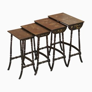 Chinese Hand Painted Chinoiserie Lacquered Tables, Set of 4