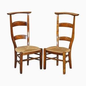 Handgeschnitzte Gebetsstühle mit hoher Rückenlehne, 1840er, 2er Set