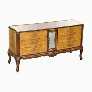Vintage Italian Burr Walnut Sideboard with Mirrored Top & Serpentine Front