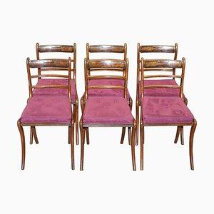 Regency Hartholz Bergere Esszimmerstühle aus Samt, 6er Set