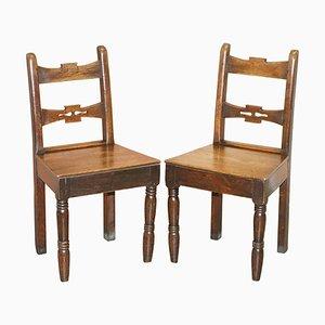 Englische Vintage Beistellstühle aus Eiche, 2er Set