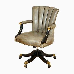 Chaise Pivotante Art Déco Vintage en Cuir Gris avec Dossier Coquillage et Cadre Laqué
