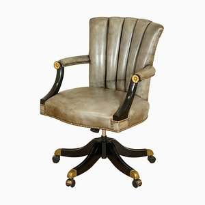 Vintage Art Deco Grey Leather Swivel Chair with Shell Back & Lacquered Frame