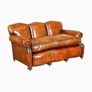 Edwardianisches handgefärbtes Whiskey Brown Sofa mit Federkissen