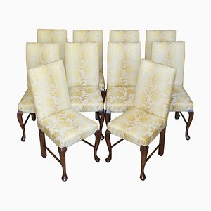 Elm Dining Chairs with Gold-Stitched Embroidered Upholstery, Set of 10