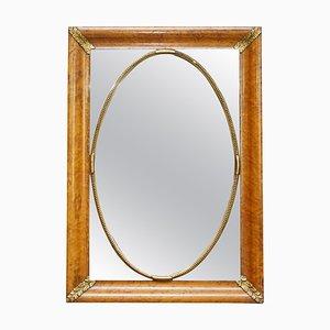 19th-Century French Burr Walnut Mirror with Giltwood Decoration