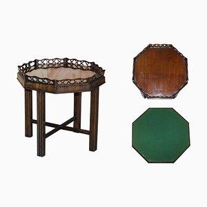 Table de Jeux Thomas Chippendale Antique avec Plateau Amovible